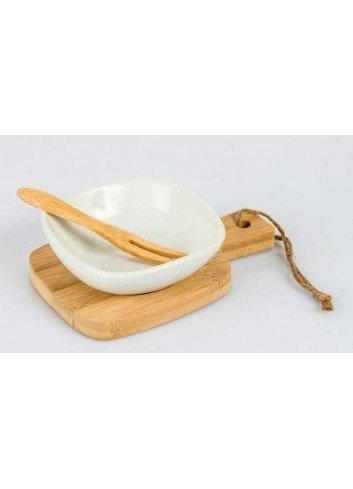 Antipastiera in ceramica e bambù D5656 Cuorechef Cuorematto
