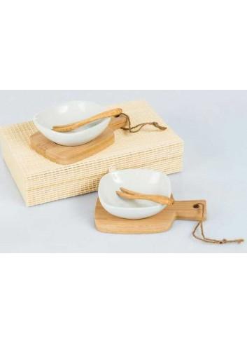 Coppia di antipastiere in ceramica e bambù D5657 Cuorechef Cuorematto