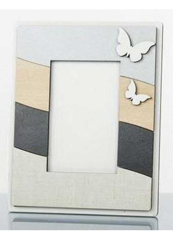 Portafoto in legno con applicazione farfalle 6 x 9 cm D5723 Cuor Raggiante Cuorematto