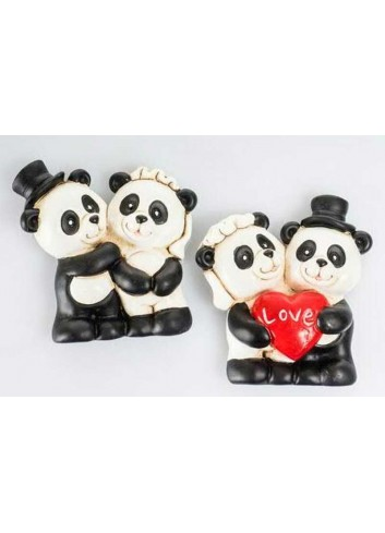 Magnete Panda sposi 2 assortiti 5,5 H. cm D5653 Tutti Panda Cuorematto