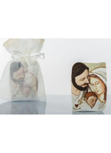 Icona Sacra Famiglia con sacchetto in organza 5 x 7 H. cm D5741 Cuore Sacro Cuorematto