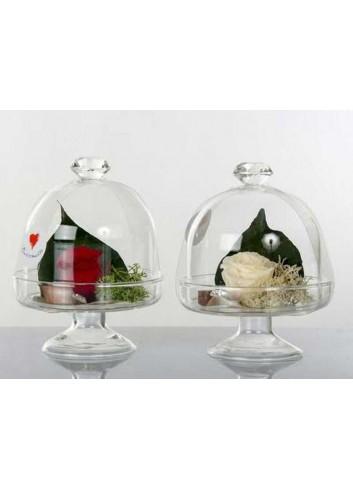 Alzatina in vetro H. 9 cm con fiore stabilizzato 2 assortiti D5753 Cuor di Rosa Cuorematto