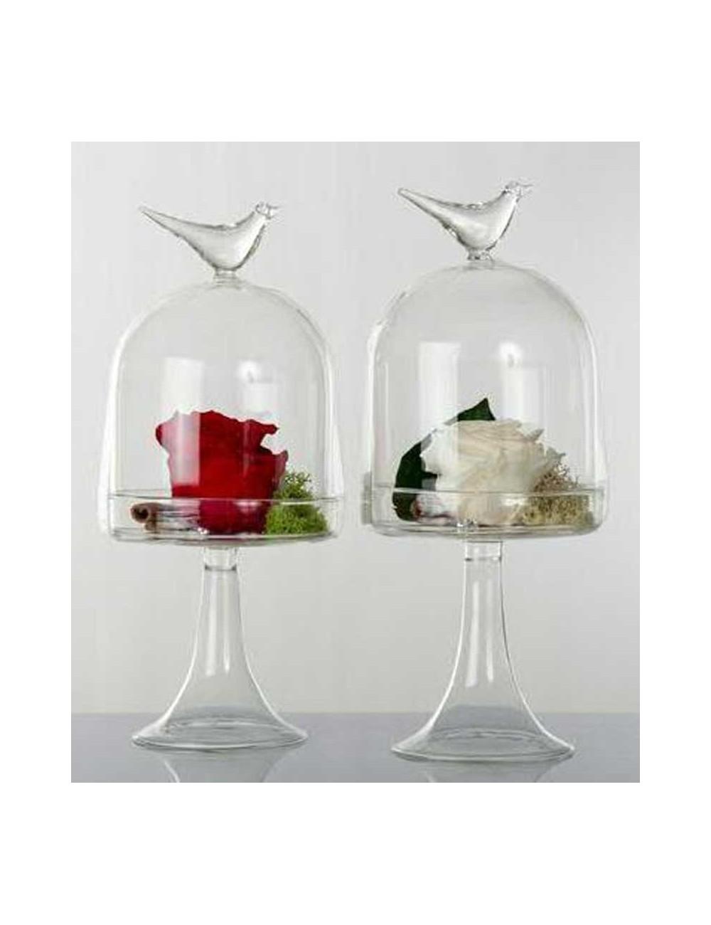 Alzatina in vetro H. 26 cm con fiore stabilizzato 2 ...