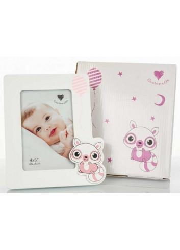 Portafoto bianco - rosa 10 x 15 H. cm D5802 Poldina Cuorematto