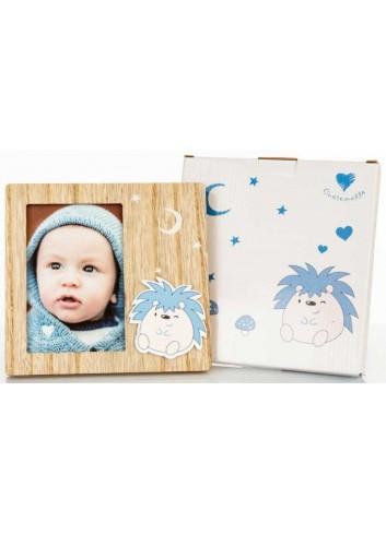Portafoto in legno/celeste 10 x 15 H. cm D5805 Poldino Cuorematto