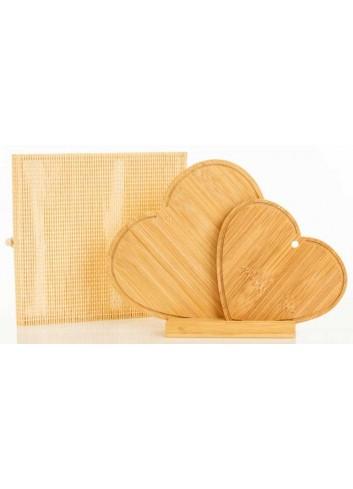 Set 2 taglieri Cuori in bambù 20/15 cm D5821 Taglieri Cuorematto