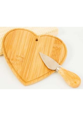 Tagliere Cuore in bambù con coltello D5827 Taglieri Cuorematto
