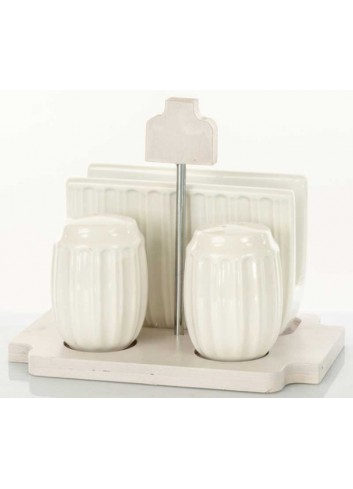 Set sale - pepe e portatovaglioli in ceramica con supporto in legno D5832 Legno ceramica Cuorematto