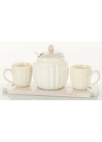 Servizio zuccheriera e 2 tazzine in ceramica con supporto in legno D5833 Legno ceramica Cuorematto