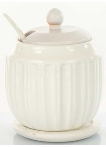 Zuccheriera in ceramica con supporto in legno D5834 Legno ceramica Cuorematto