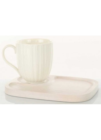 Tazza colazione in ceramica con vassoio in legno D5835 Legno ceramica Cuorematto