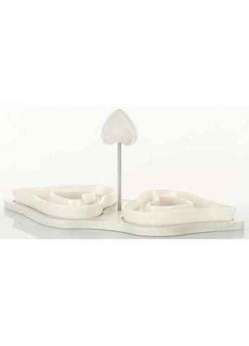 Antipastiera doppia a Cuore in ceramica con aggancio in legno D5836 Legno ceramica Cuorematto