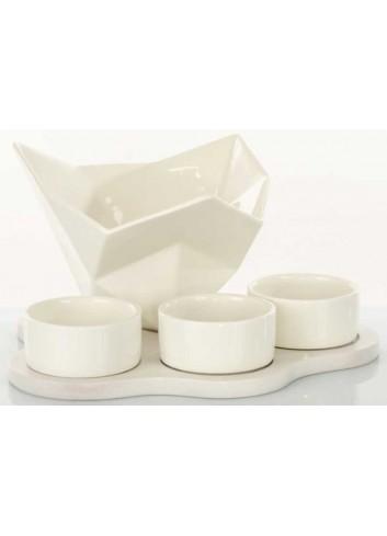 Servizio aperitivo in ceramica con supporto in legno D5837 Legno ceramica Cuorematto