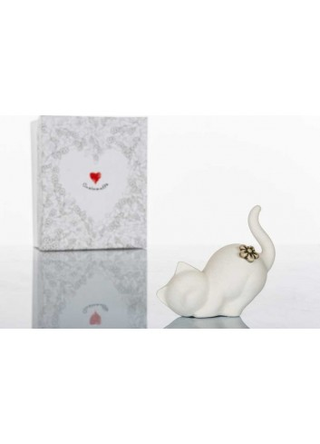 Gattino portanelli in porcellana biscuit bianca 10 x 4 x 8 cm D5851 Simply White Cuorematto