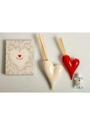 Profumatore e vaso da appendere (cuore bianco e cuore rosso) D5878 Profumatori Cuore Cuorematto