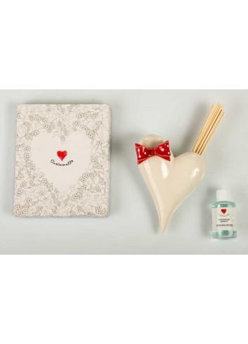 Profumatore da appendere cuore bianco con fiocco D5879 Profumatori Cuore Cuorematto