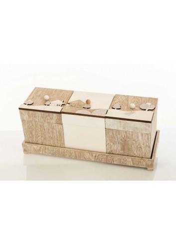 Set tre scatole in legno con decoro paesaggio D5908 Casette ed Alberi Cuorematto