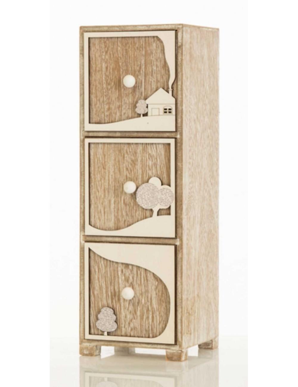 Mobiletto in legno con decoro paesaggio a tre cassetti D5909 Casette ed  Alberi Cuorematto
