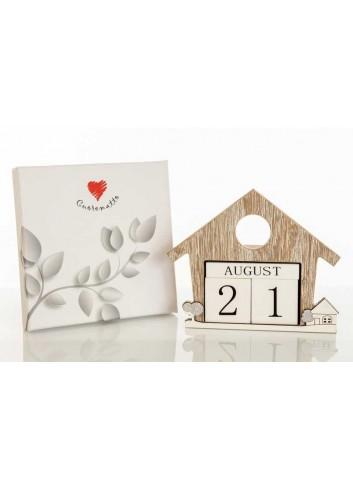 Calendario perpetuo casetta in legno con decoro paesaggio D5917 Casette ed Alberi Cuorematto
