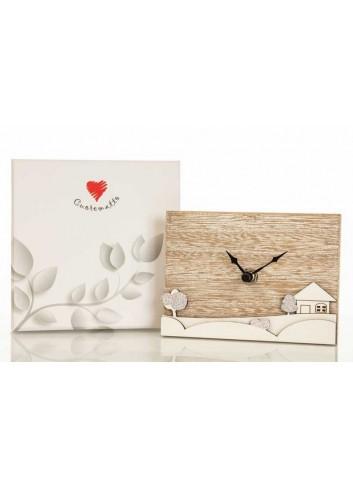 Orologio in legno con decoro paesaggio D5919 Casette ed Alberi Cuorematto