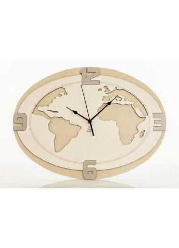 Orologio Mondo da parete in legno D5953 Cuoreitalia Cuorematto