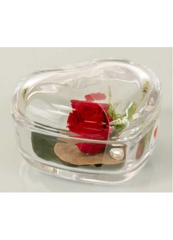 Cuore in vetro trasparente con rosa stabilizzata color rosso D5960 Rose stabilizzate Cuorematto