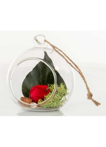 Sfera in vetro trasparente con rosa stabilizzata color rosso D5961 Rose stabilizzate Cuorematto