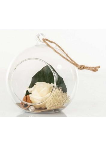 Sfera in vetro trasparente con rosa stabilizzata color avorio D5962 Rose stabilizzate Cuorematto