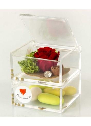 Due scatole plex trasparente con rosa stabilizzata color rosso D5967 Rose stabilizzate Cuorematto