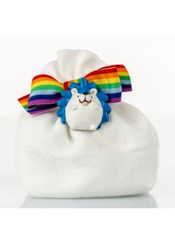 Sacchettino con riccio con nastro arcobaleno D5972 Sacchetti Cuorematto