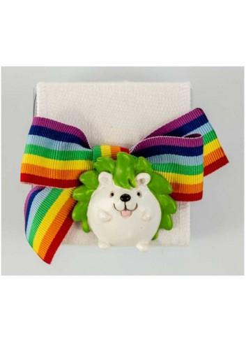 Scatola in plex con riccio con nastro arcobaleno D5974 Scatoline Cuorematto