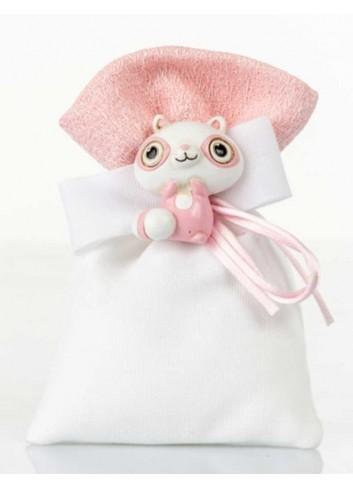 Sacchettino bianco dettaglio rosa con lemure  D5978 Sacchetti Cuorematto