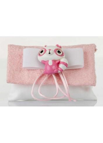 Bustina bianca dettaglio rosa con lemure  D5979 Sacchetti Cuorematto
