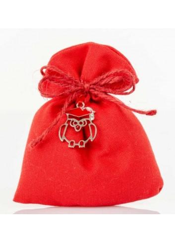 Sacchettino rosso con applicazione gufetto laurea D5981 Sacchetti Cuorematto