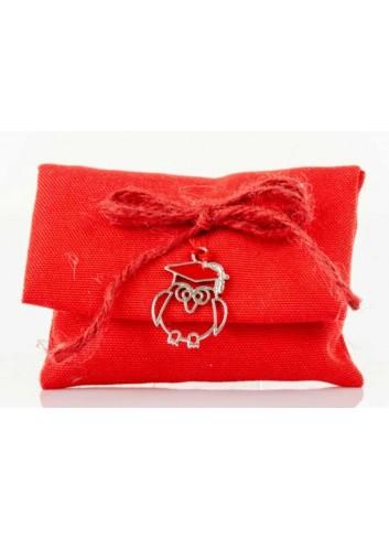 Bustina rossa con applicazione gufetto laurea D5982 Sacchetti Cuorematto