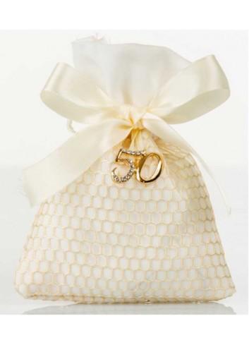 Sacchettino piatto rete con applicazione 50 anni matrimonio D5992 Sacchetti Cuorematto