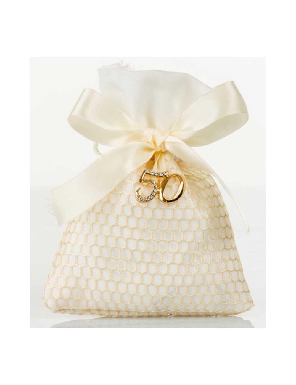 Sacchettino Piatto Rete Con Applicazione 50 Anni Matrimonio D5992 Sacchetti Cuorematto Wonderlandstore