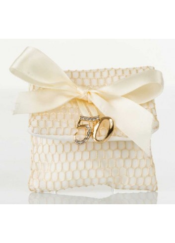 Bustina rete con applicazione 50 anni matrimonio D5993 Sacchetti Cuorematto