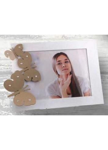 Portafoto in metallo bianco con farfalle tortora e strass MIC-01 1-2-3 Michelle Negò