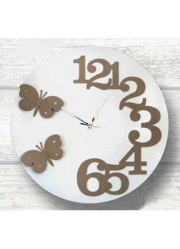 Orologio da parete in metallo bianco con farfalle tortora e strass MIC-39/49 Michelle Negò