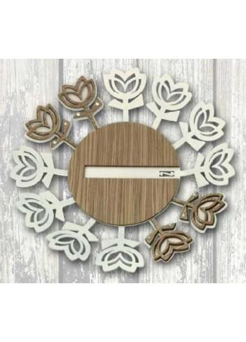 Centrotavola in metallo bianco e legno con strass  TUC-11/12 Tulipano Casa Negò