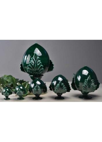 Pomo verde bottiglia foglia piena in ceramica artigianale pugliese