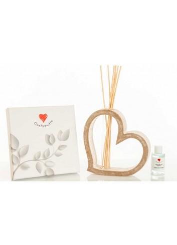 Profumatore cuore in legno con decoro paesaggio D5916 D5915 Casette ed Alberi Cuorematto