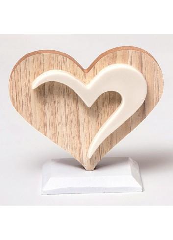 Cuore in legno e porcellana A5505/B Wood for love AD Emozioni