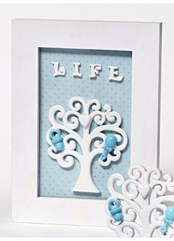 Quadretto Life Albero della vita celeste in resina A5602/B3 Life in love AD Emozioni
