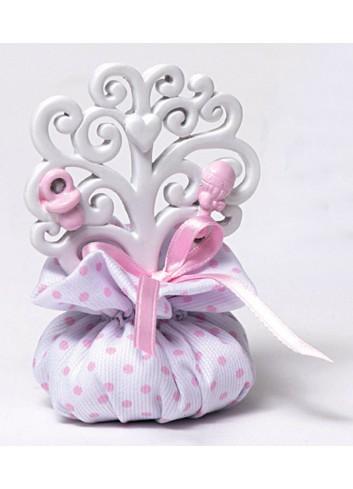 Albero della vita rosa in resina con sacchettino A5601/A2 Life in love AD Emozioni
