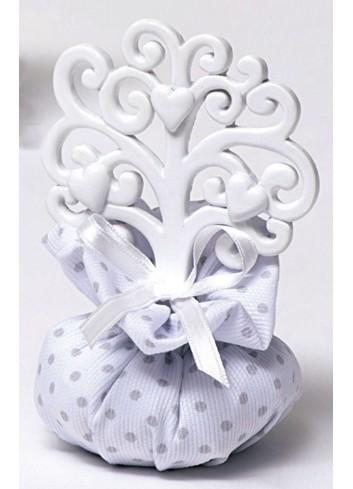 Albero della vita bianco piccolo in resina con sacchettino A5601/A1 Life in love AD Emozioni