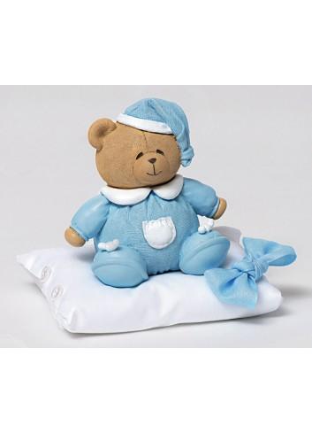 Salvadanaio orsetto celeste con cuscino portaconfetti 130452/A3 Teddy AD Emozioni