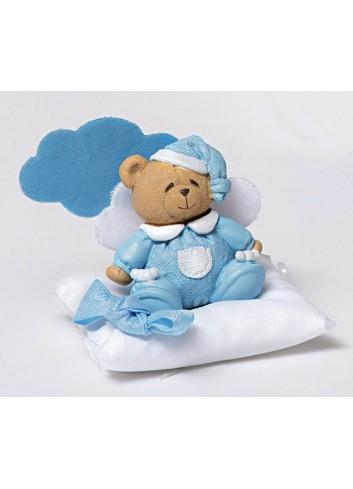 Magnete orsetto celeste con cuscino portaconfetti e nuvoletta 130451/A3 Teddy AD Emozioni