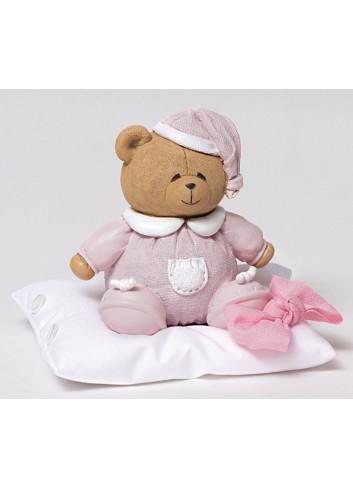 Salvadanaio orsetto rosa con cuscino portaconfetti 130452/A2 Teddy AD Emozioni